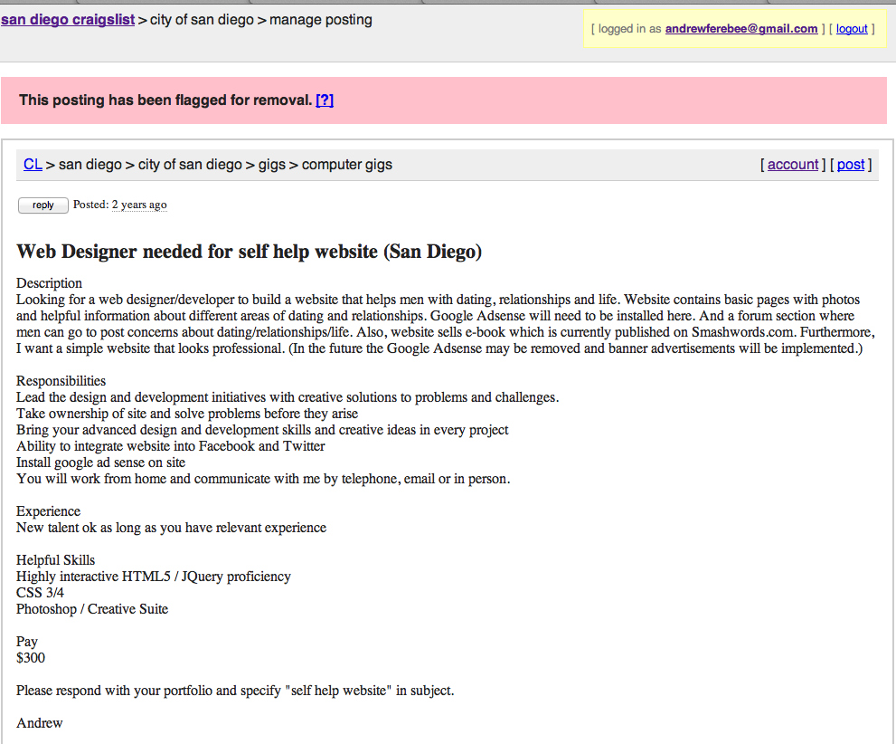 Craigslist ad I made for a web developer to build Knowledgeformen.com