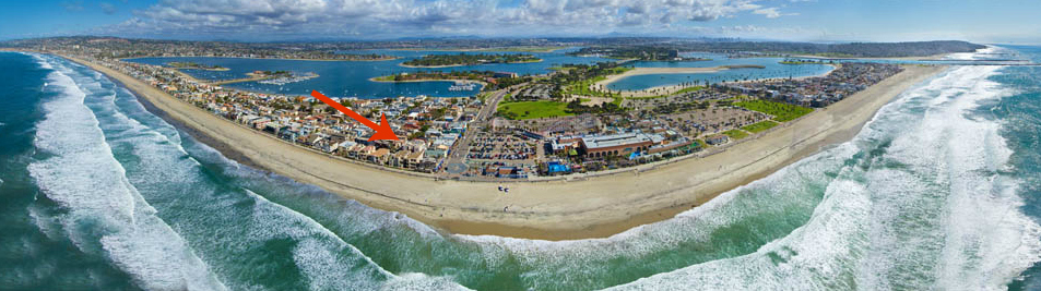 Aerial Photo of Mission Beach in San Diego